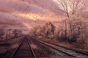 Haunting Print Framed Prints - Surreal Fantasy Railroad Tracks With Birds Framed Print by Kathy Fornal