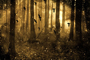 Dark Sepia Prints - Surreal Fantasy Ravens Crows Sepia Woodlands Print by Kathy Fornal