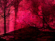 Photos With Red Photo Prints - Surreal Fantasy Red Nature Trees and Birds Print by Kathy Fornal