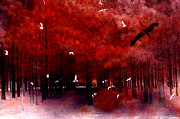 Surreal Art Photos - Surreal Fantasy Red Woodlands With Birds Seagull by Kathy Fornal