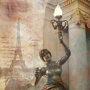 Paris Art Deco Prints Photos - Surreal Fantasy Sepia Eiffel Tower and Street Lamp by Kathy Fornal