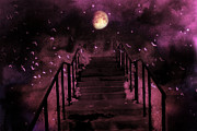 Night Scenes Photos - Surreal Fantasy Stairs Moon Birds Stars  by Kathy Fornal
