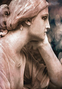 Surreal Art Photo Prints - Surreal Female Face Dreamy Contemplation  Print by Kathy Fornal