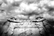 Haunting Art Photos - Surreal Gothic Cemetery Mourners on Casket by Kathy Fornal