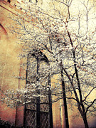 Surreal Art Photos - Surreal Gothic Church Window With Fall Tree by Kathy Fornal