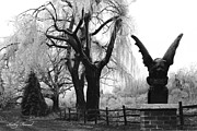 Photo Prints Prints - Surreal Gothic Gargoyle Ice Storm Landscape Print by Kathy Fornal