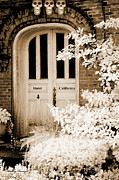 Surreal Infrared Photos By Kathy Fornal. Infrared Prints - Surreal Gothic Infrared Skulls Over Door Print by Kathy Fornal