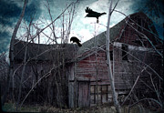 Old Barns Photo Prints - Surreal Gothic Old Barn With Ravens Crows  Print by Kathy Fornal