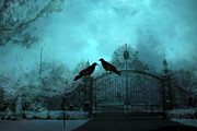 Spooky Scene Prints - Surreal Gothic Ravens Fantasy Art Gate Scene Print by Kathy Fornal
