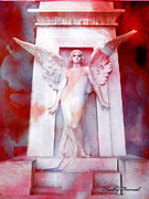 Photos With Red Photo Prints - Surreal Impressionistic Red White Angel Art  Print by Kathy Fornal