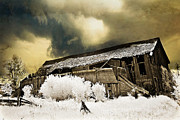 Old Barns Photo Prints - Surreal Infrared Barn Scene With Stormy Sky Print by Kathy Fornal