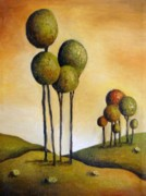 Surreal Landscape Posters - Surreal Landscape 1 Poster by Leah Saulnier The Painting Maniac