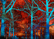 Surreal Art Photos - Surreal Orange Sky With Blue Trees Landscape by Kathy Fornal