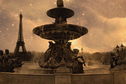 Paris In Sepia Framed Prints - Surreal Paris - Place de la Concorde  Framed Print by Kathy Fornal