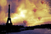 La Tour Eiffel Posters - Surreal Paris Eiffel Tower Hot Air Balloons Poster by Kathy Fornal