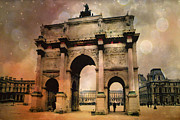 Louvre Museum Framed Prints - Surreal Paris Louvre Courtyard Sepia Soft Bokeh Framed Print by Kathy Fornal