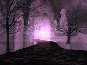 Gothic Dark Photography Photos - Surreal Purple Fantasy Nature Path by Kathy Fornal