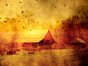 Red Barn Prints Posters - Surreal Red Yellow Barn With Ravens Landscape Poster by Kathy Fornal