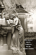 Surreal Female Cemetery Mourners Photos - Surreal Romantic Female Cemetery Mourner At Grave by Kathy Fornal