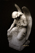 Angel Art Photography Posters - Surreal Sad Angel Kneeling In Prayer Poster by Kathy Fornal