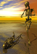 Jogging Prints - Surreal skeleton jogging past prone skeleton with sunset Print by Nicholas Burningham