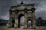 Starry Digital Art Posters - Surreal Starry Night Blue Paris Louvre Courtyard Poster by Kathy Fornal