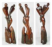 Abstract Expressionist Sculptures - Surrealist Wooden Sculpture by Wasan Khattak