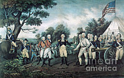Colonial Man Prints - Surrender Of General Burgoyne, 1777 Print by Photo Researchers