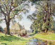 Farm Scenes Prints - Surrey Landscape  Print by Edmund George Warren