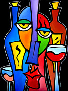 Wine Drawings - Surrounded - Original Pop Art by Fidostudio by Tom Fedro - Fidostudio
