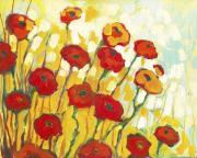 Orange Poppy Paintings - Surrounded in Gold by Jennifer Lommers