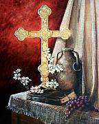 Lion Oil Paintings - Survey the Wonderous Cross by Cynara Shelton