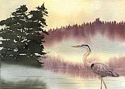Great Blue Heron Paintings - Surveyor of the Morning by Lynn Quinn