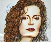 Autographed Mixed Media Originals - Susan Sarandon by Joseph Lawrence Vasile
