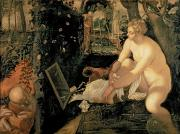 Elders Prints - Susanna Bathing Print by Jacopo Robusti Tintoretto