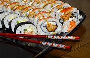 American Food Prints - Sushi and Chopsticks Print by Carolyn Marshall