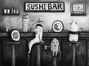 Cantina Paintings - Sushi Bar BW Version by Leah Saulnier The Painting Maniac