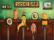 Humor. Paintings - Sushi Bar Darker Tone Image by Leah Saulnier The Painting Maniac