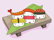 Sushi Posters - Sushi Set Poster by Littlebirth