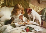 Pets Painting Prints - Suspense Print by Charles Burton
