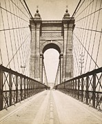 Covington Prints - Suspension Bridge Spanning The Ohio Print by Everett