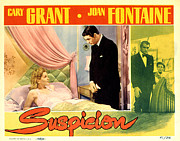 Fontaine Posters - Suspicion, Joan Fontaine, Cary Grant Poster by Everett