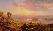 Setting Framed Prints - Susquehanna River Framed Print by Jasper Francis Cropsey