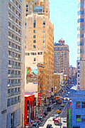 Hyatt Hotel Digital Art Prints - Sutter Street San Francisco Print by Wingsdomain Art and Photography