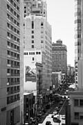 Hyatt Hotels Framed Prints - Sutter Street West View . Black and White Photograph 7D7506 Framed Print by Wingsdomain Art and Photography