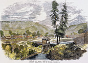 Forty Niner Prints - SUTTERS MILL, 1848. /nJohn A. Sutters sawmill at Coloma, California, where James W. Marshall discovered gold on 24 January 1848. Contemporary color engraving Print by Granger