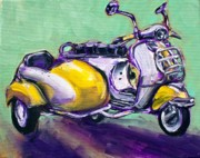 Scooter Paintings - Suzie Sidecar by Sheila Tajima