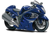 Bike Race Framed Prints - Suzuki Hayabusa Dark Blue Bike Framed Print by Maddmax