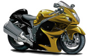 Bike Race Framed Prints - Suzuki Hayabusa Gold Bike Framed Print by Maddmax