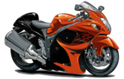 Bike Race Framed Prints - Suzuki Hayabusa Orange Bike Framed Print by Maddmax